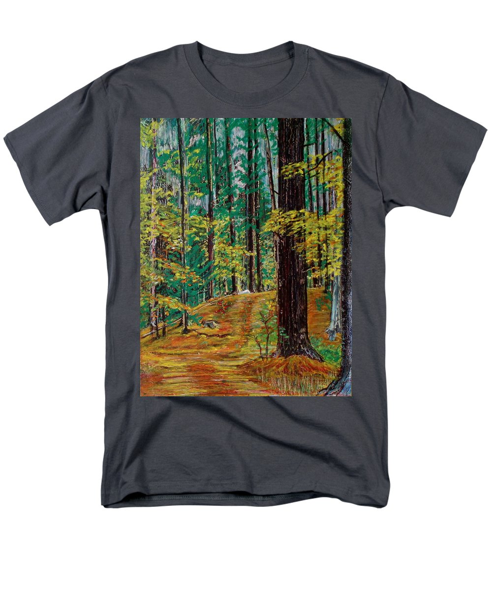 New Hampshire Men's T-Shirt (Regular Fit) featuring the pastel Trail At Wason Pond by Sean Connolly