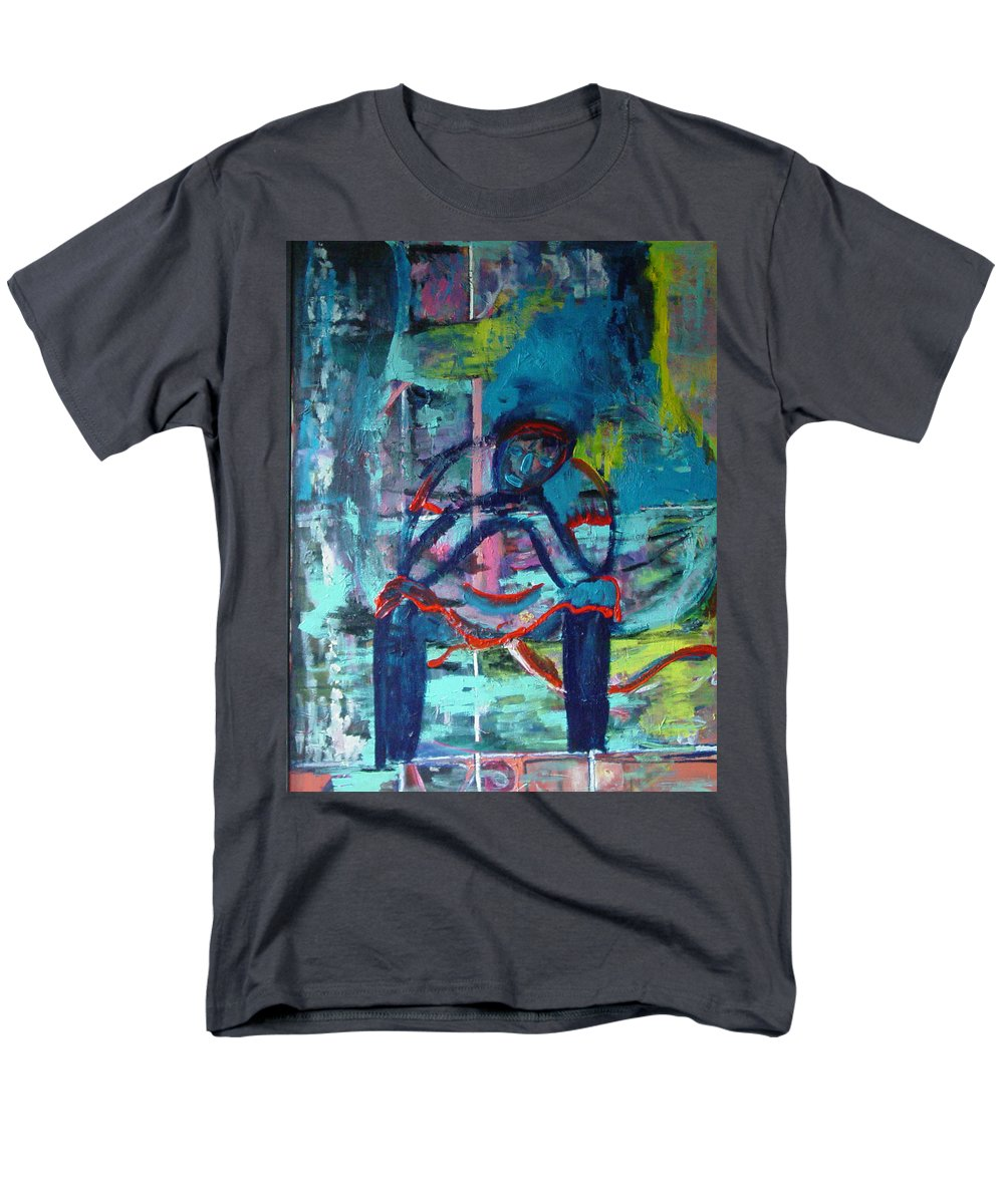 Woman On Bench Men's T-Shirt (Regular Fit) featuring the painting Waiting by Peggy Blood