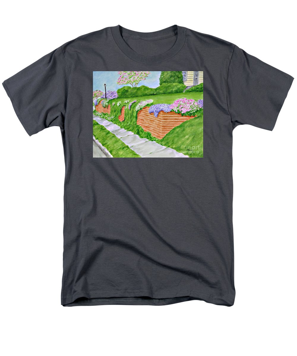 Landscape Men's T-Shirt (Regular Fit) featuring the painting Wall Of Flowers by Regan J Smith