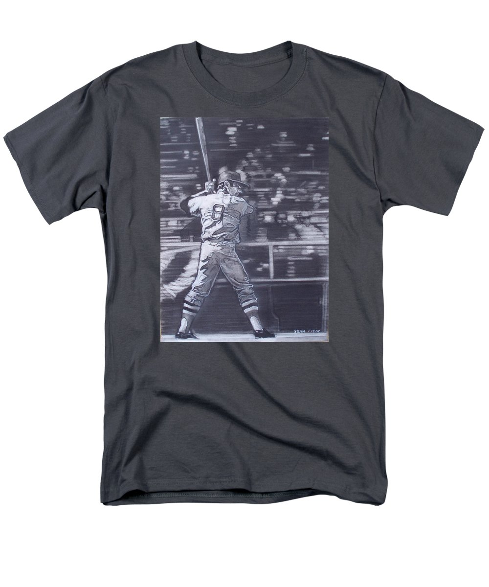 Charcoal Men's T-Shirt (Regular Fit) featuring the drawing Yaz - Carl Yastrzemski by Sean Connolly