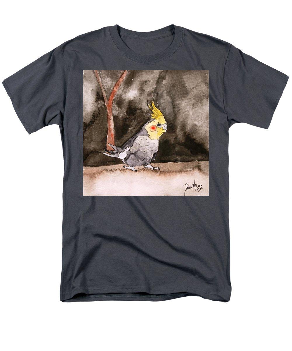 Cockatiel Men's T-Shirt (Regular Fit) featuring the painting Cockatiel by Derek Mccrea