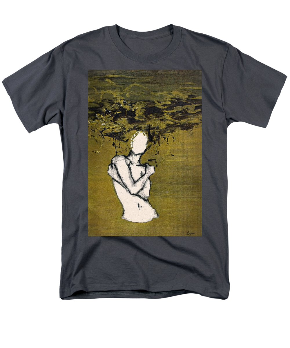 Gold Woman Hair Bath Nude Men's T-Shirt (Regular Fit) featuring the mixed media Untitled 3 by Veronica Jackson
