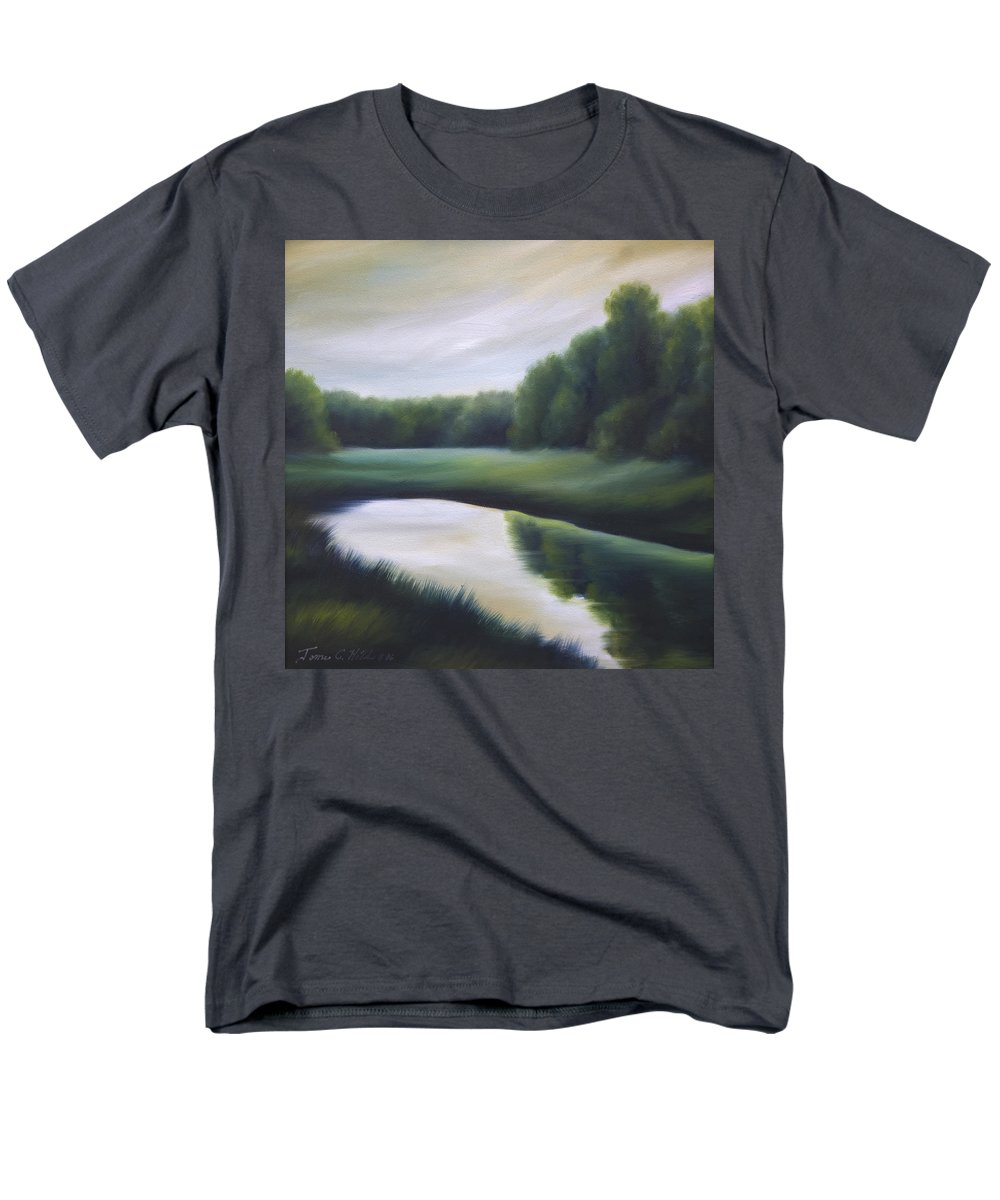 Nature; Lake; Sunset; Sunrise; Serene; Forest; Trees; Water; Ripples; Clearing; Lagoon; James Christopher Hill; Jameshillgallery.com; Foliage; Sky; Realism; Oils; Green; Tree Men's T-Shirt (Regular Fit) featuring the painting A Day In The Life 3 by James Christopher Hill