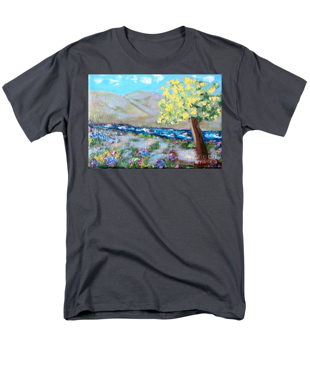 Landscapes Men's T-Shirt (Regular Fit) featuring the painting A Quiet Place by Laurie Morgan