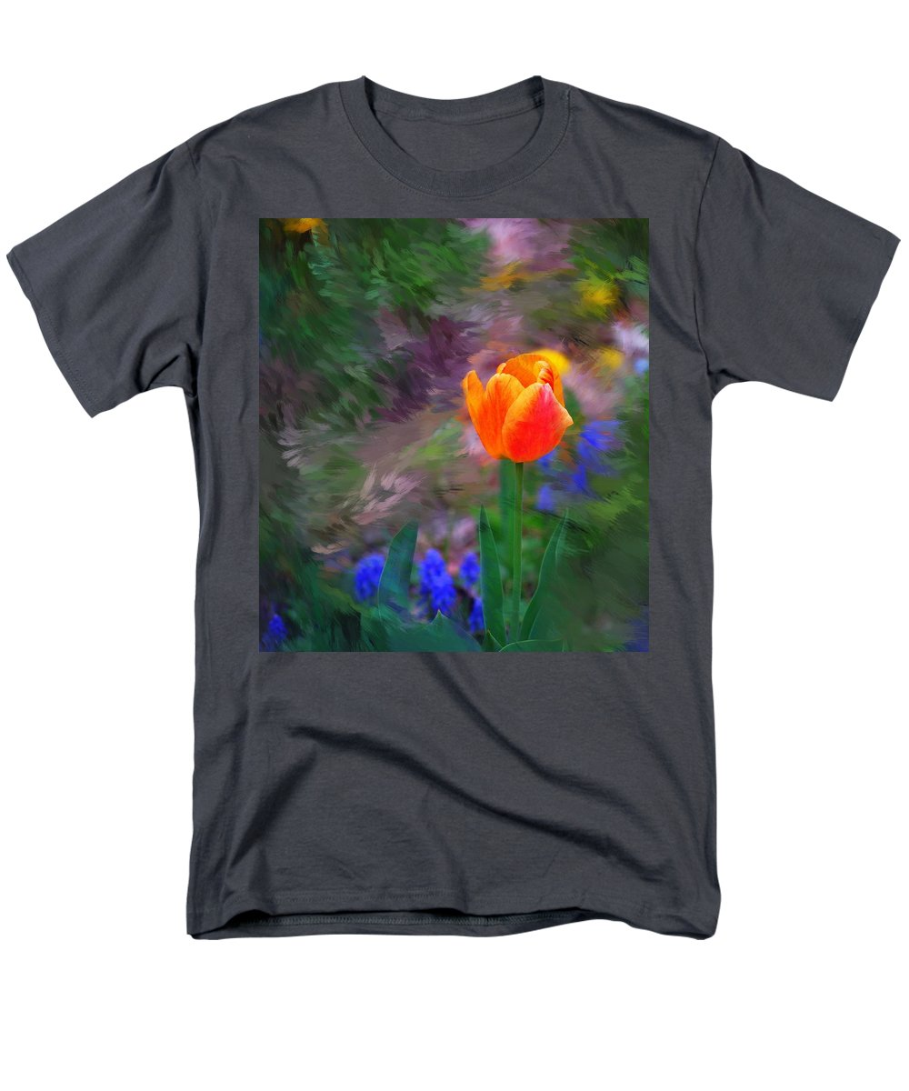 Floral Men's T-Shirt (Regular Fit) featuring the digital art A tulip stands alone by David Lane