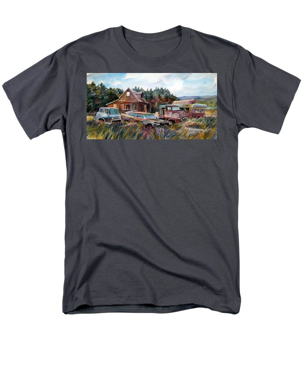 Cars Men's T-Shirt (Regular Fit) featuring the painting Across the Road and Gone by Ron Morrison