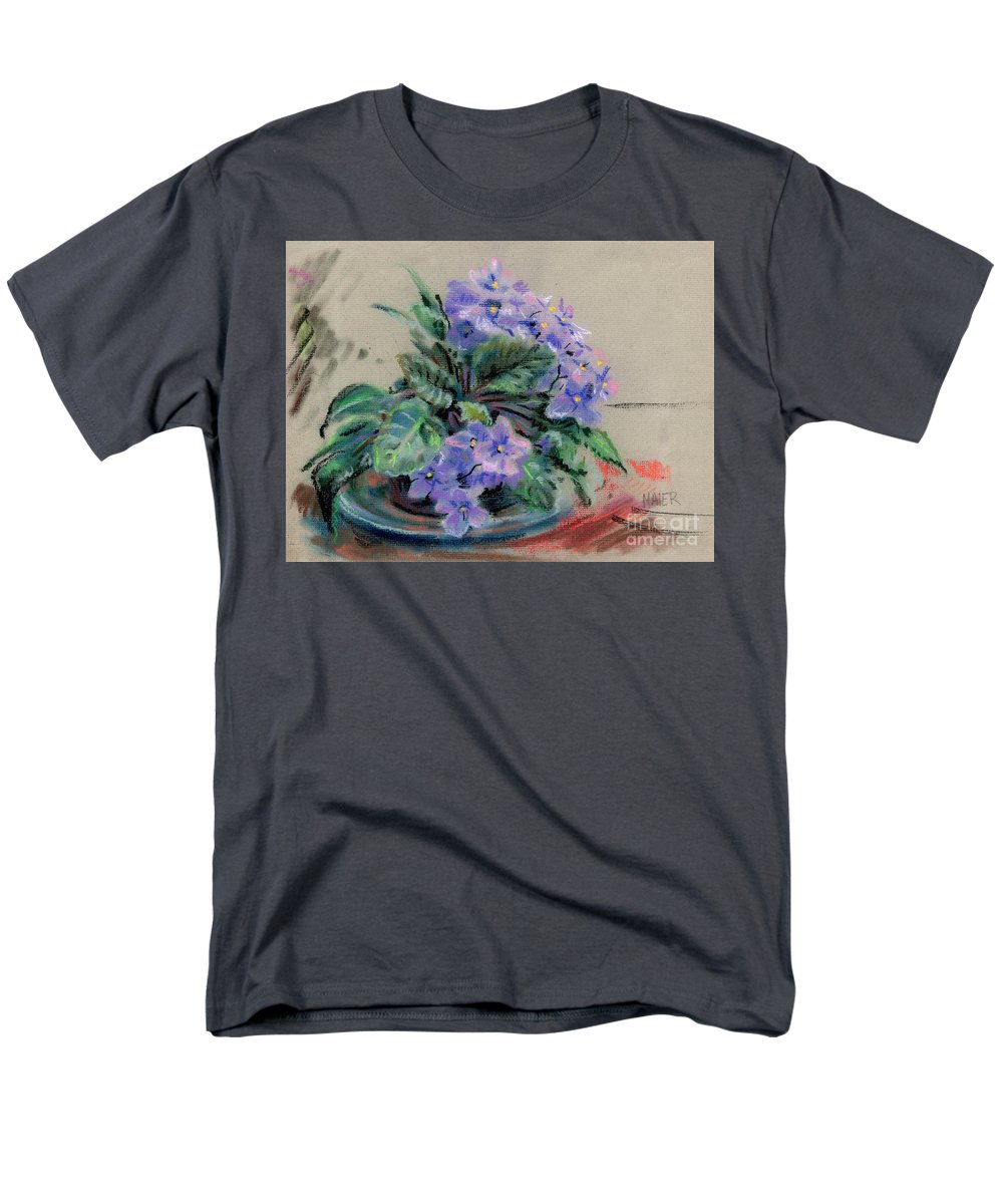 African Violets Men's T-Shirt (Regular Fit) featuring the drawing African Violet by Donald Maier