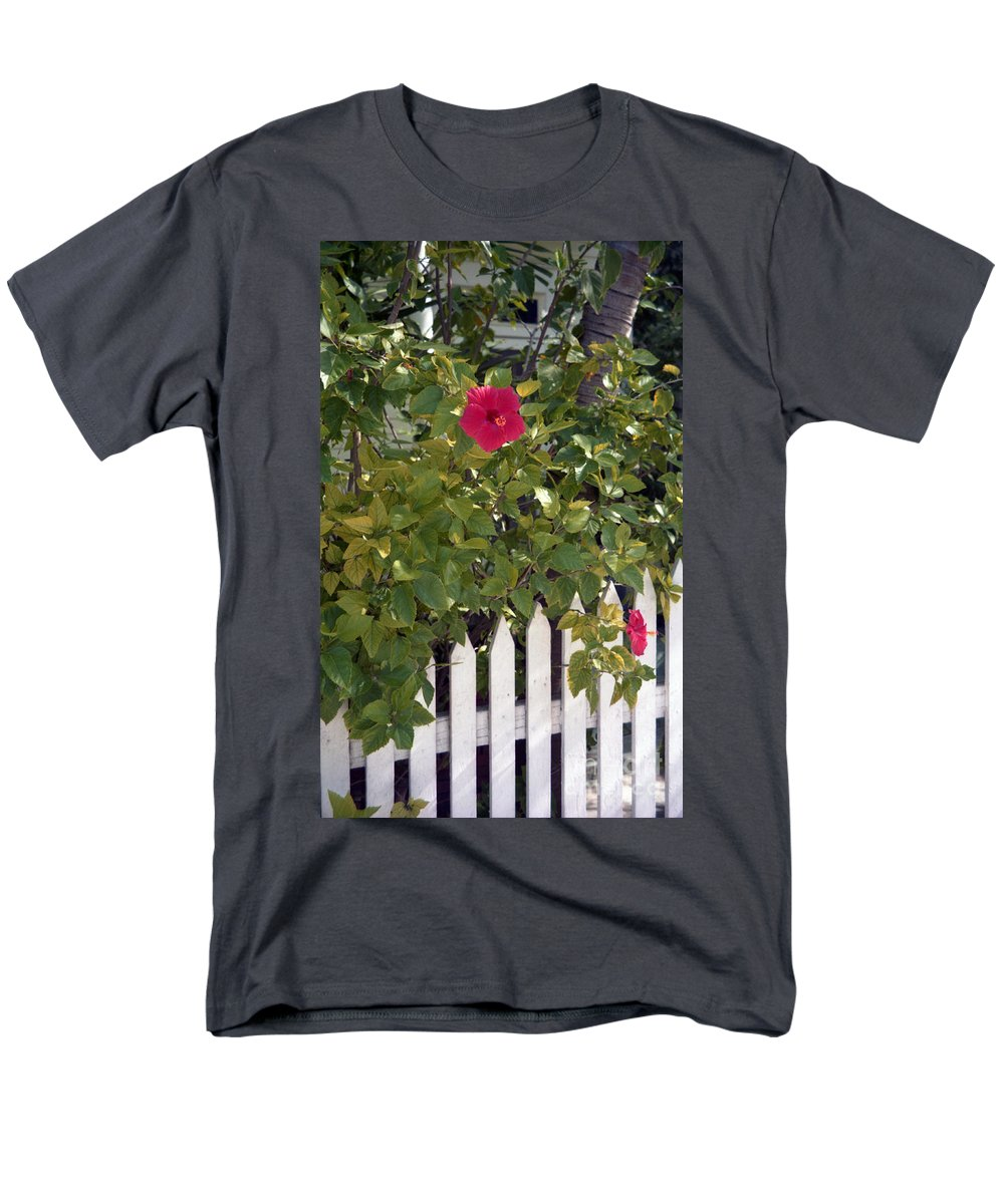 Azelea Men's T-Shirt (Regular Fit) featuring the photograph Along the Picket Fence by Richard Rizzo
