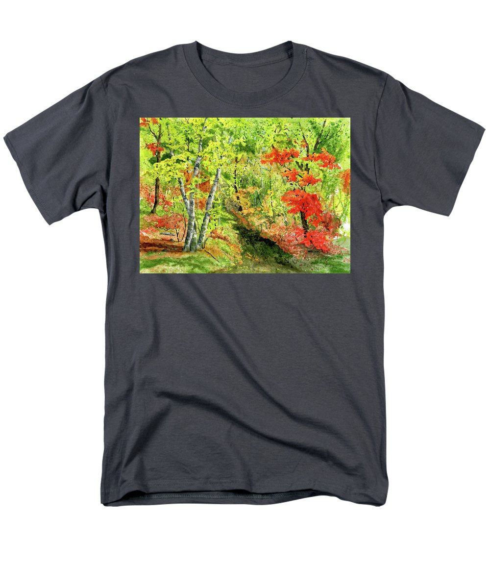 Autumn Men's T-Shirt (Regular Fit) featuring the painting Autumn Fun by Mary Tuomi