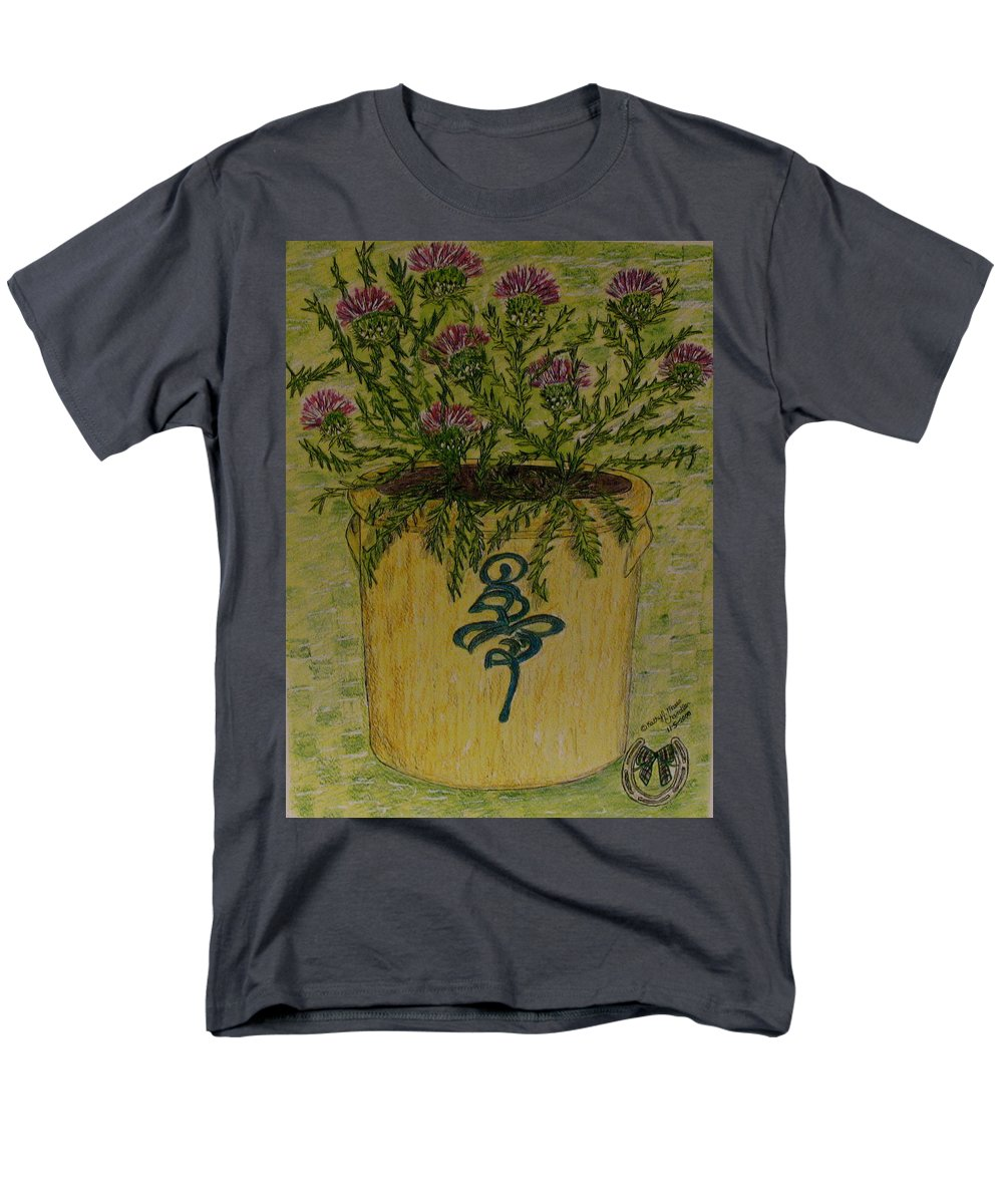 Vintage Men's T-Shirt (Regular Fit) featuring the painting Bee Sting Crock With Good Luck Horseshoe by Kathy Marrs Chandler