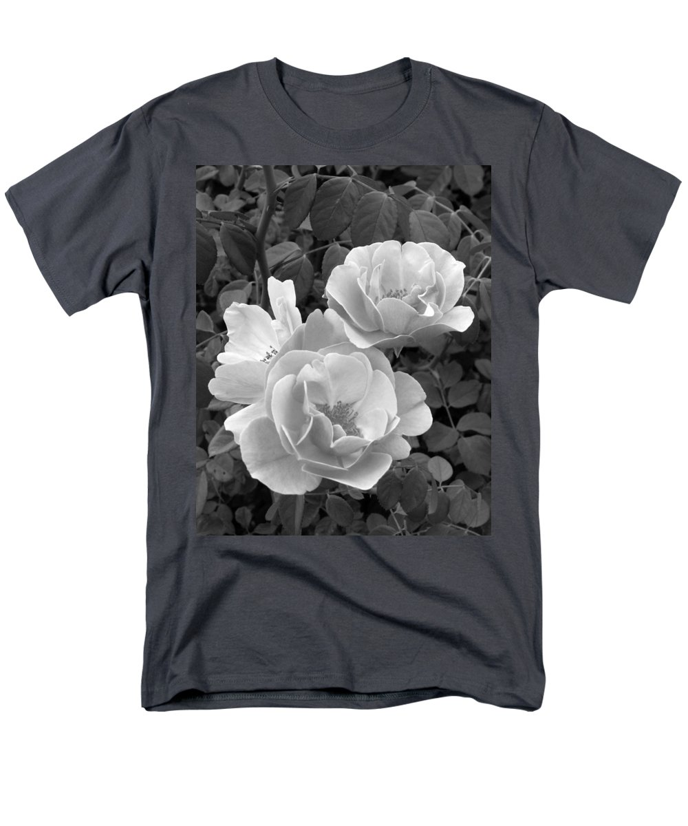 Rose Men's T-Shirt (Regular Fit) featuring the photograph Black and White Roses 1 by Amy Fose