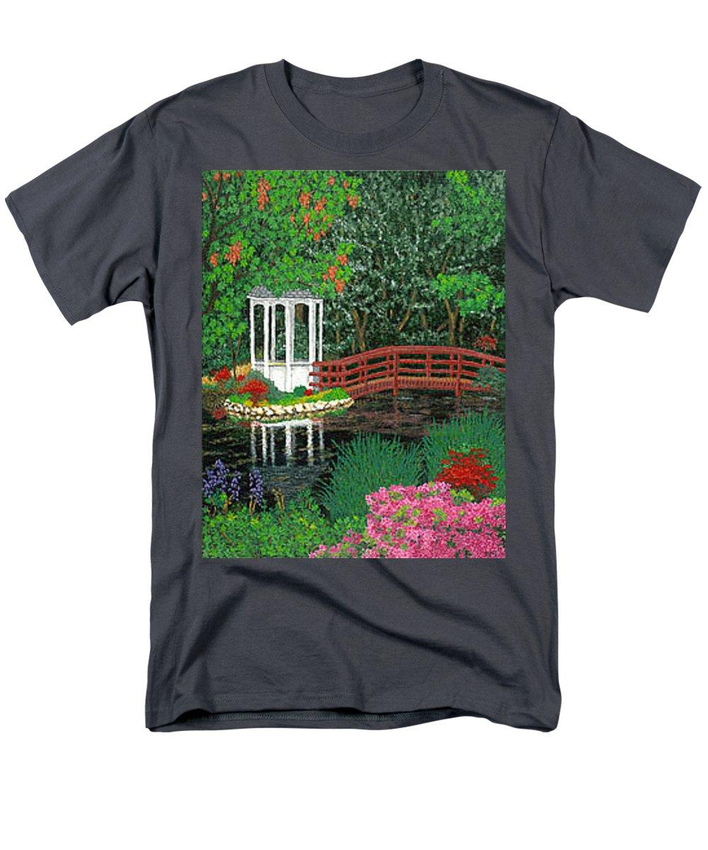 Art Men's T-Shirt (Regular Fit) featuring the painting Botanical Garden Park Walk Pink Azaleas Bridge Gazebo Flowering Trees Pond by Patti Baslee