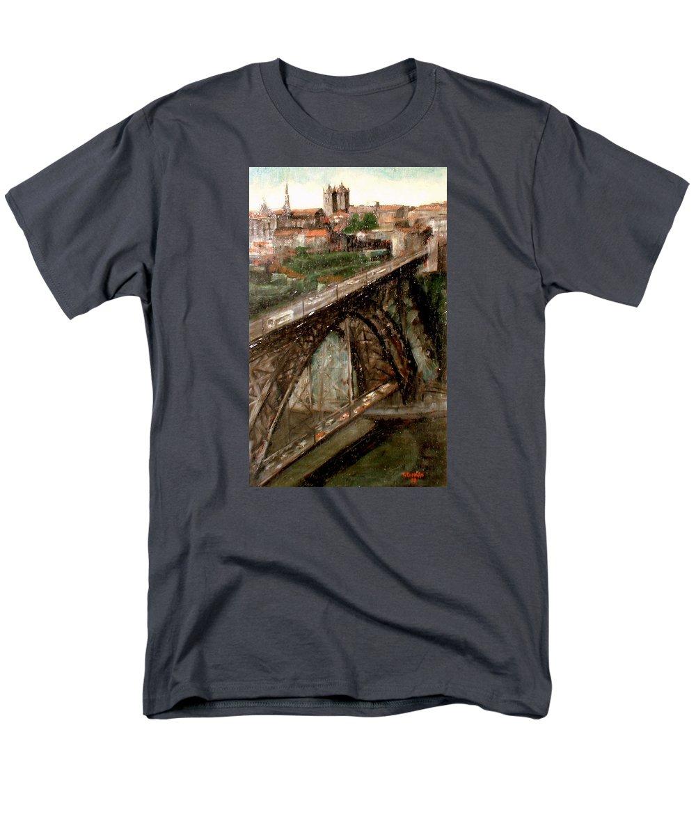 Porto Men's T-Shirt (Regular Fit) featuring the painting Bridge Luis I-Oporto by Tomas Castano