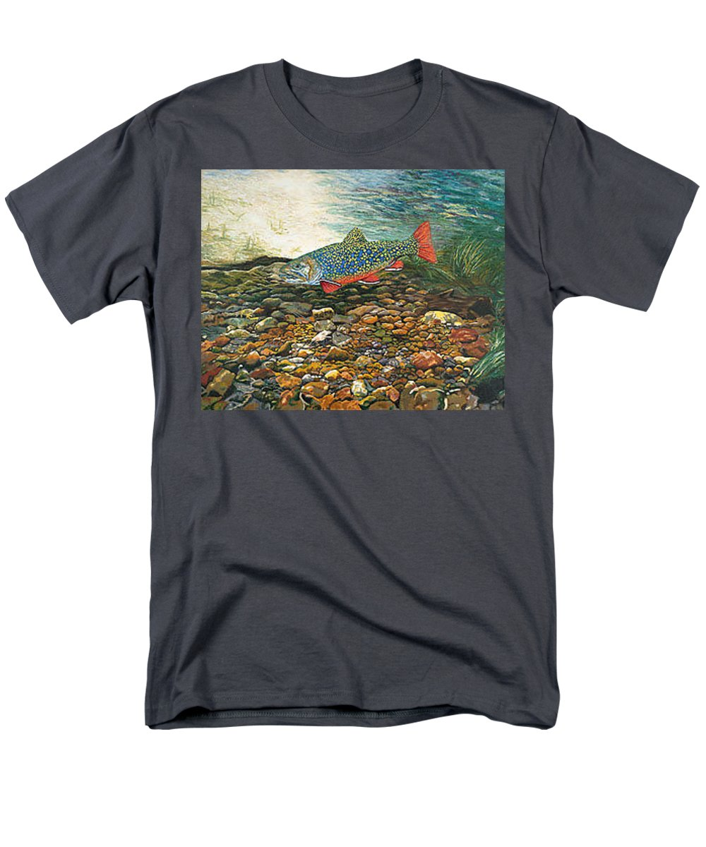 Nature Men's T-Shirt (Regular Fit) featuring the painting Brook Trout Art Fish Art Nature Wildlife Underwater by Patti Baslee