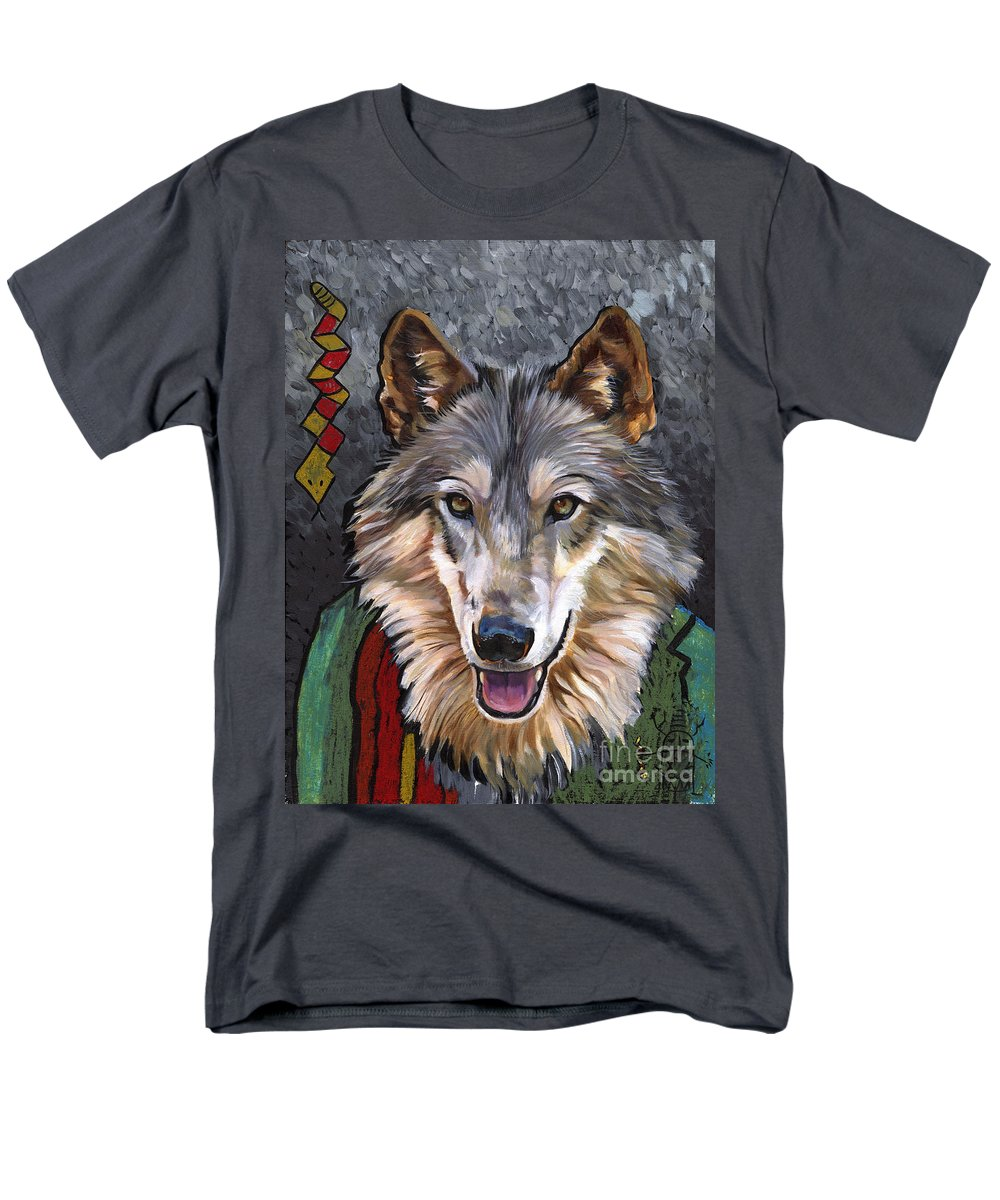 Wolf Men's T-Shirt (Regular Fit) featuring the painting Brother Wolf by J W Baker
