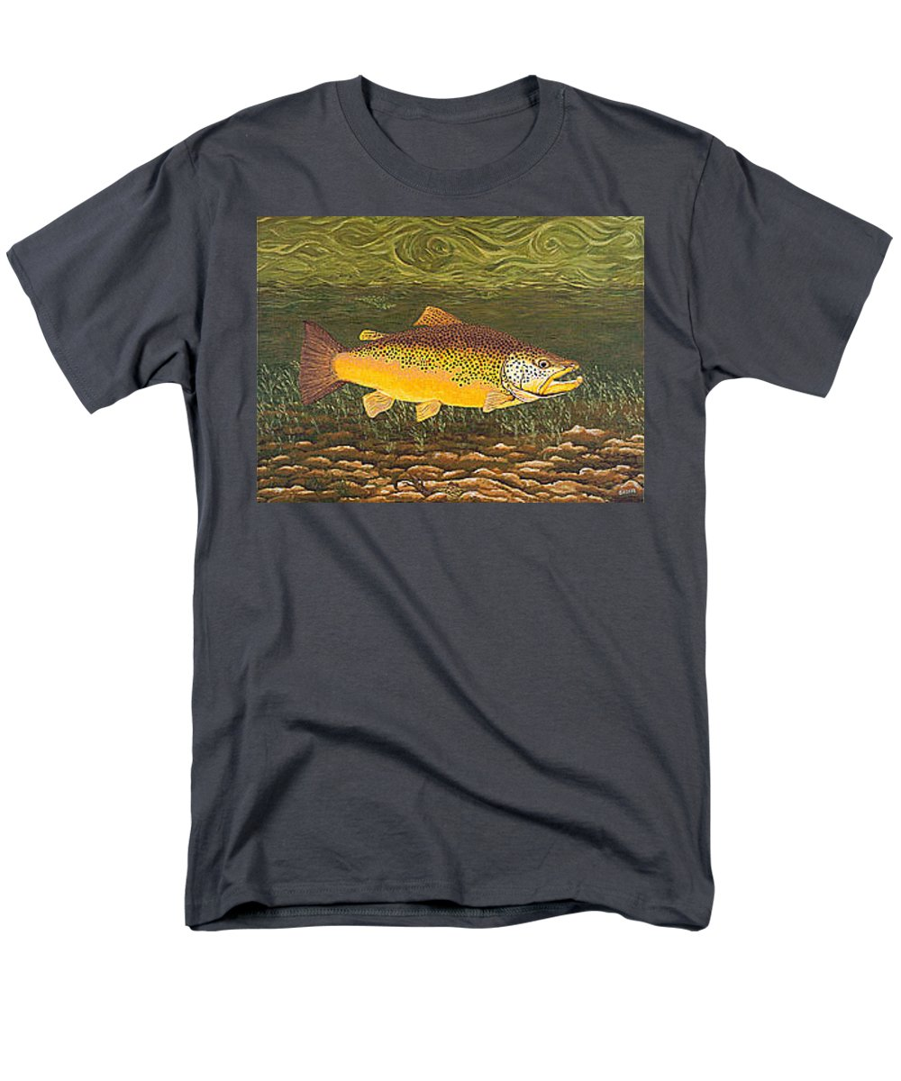 Art Print Prints Canvas Framed Giclee Fine Brown Trout Fish Angler Angling Fishing Fishermen Decor Men's T-Shirt (Regular Fit) featuring the painting Brown Trout Fish Art Print Touch Down Brown Trophy size Football shape Brown Trout Angler Angling by Patti Baslee