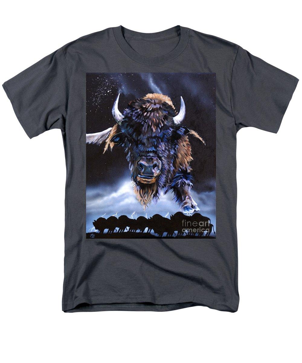 Buffalo Men's T-Shirt (Regular Fit) featuring the painting Buffalo Medicine by J W Baker