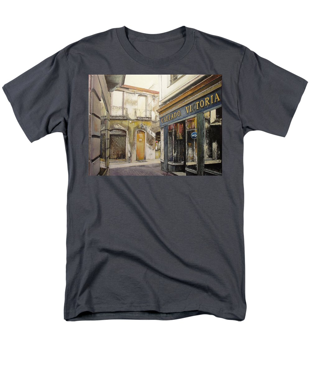Calzados Men's T-Shirt (Regular Fit) featuring the painting Calzados Victoria-leon by Tomas Castano