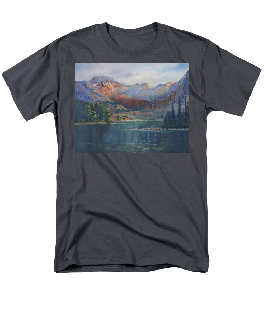 Capital Peak Men's T-Shirt (Regular Fit) featuring the painting Capitol Peak Rocky Mountains by Heather Coen