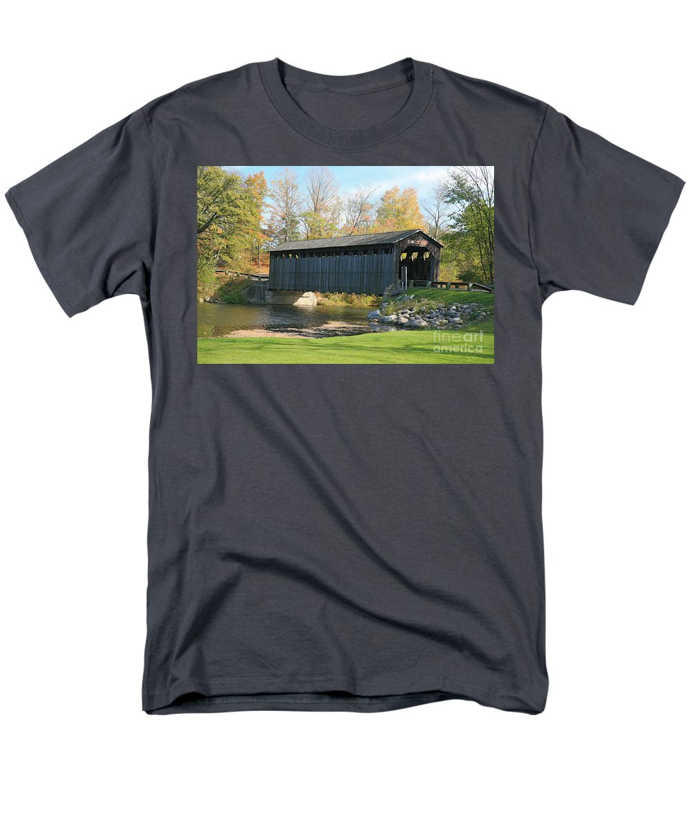 Covered Bridge Men's T-Shirt (Regular Fit) featuring the photograph Covered bridge by Robert Pearson