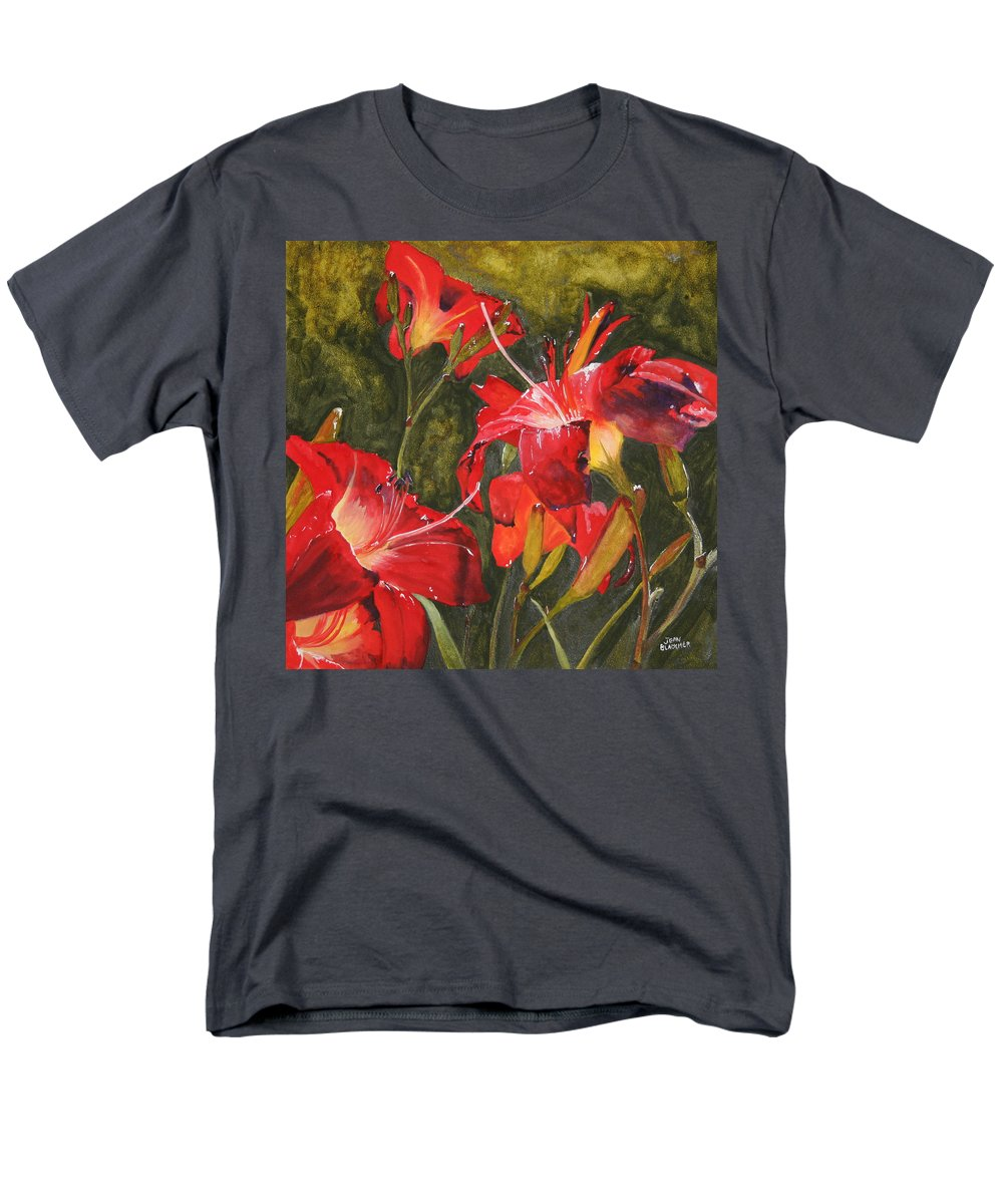 Red Men's T-Shirt (Regular Fit) featuring the painting Crimson Light by Jean Blackmer