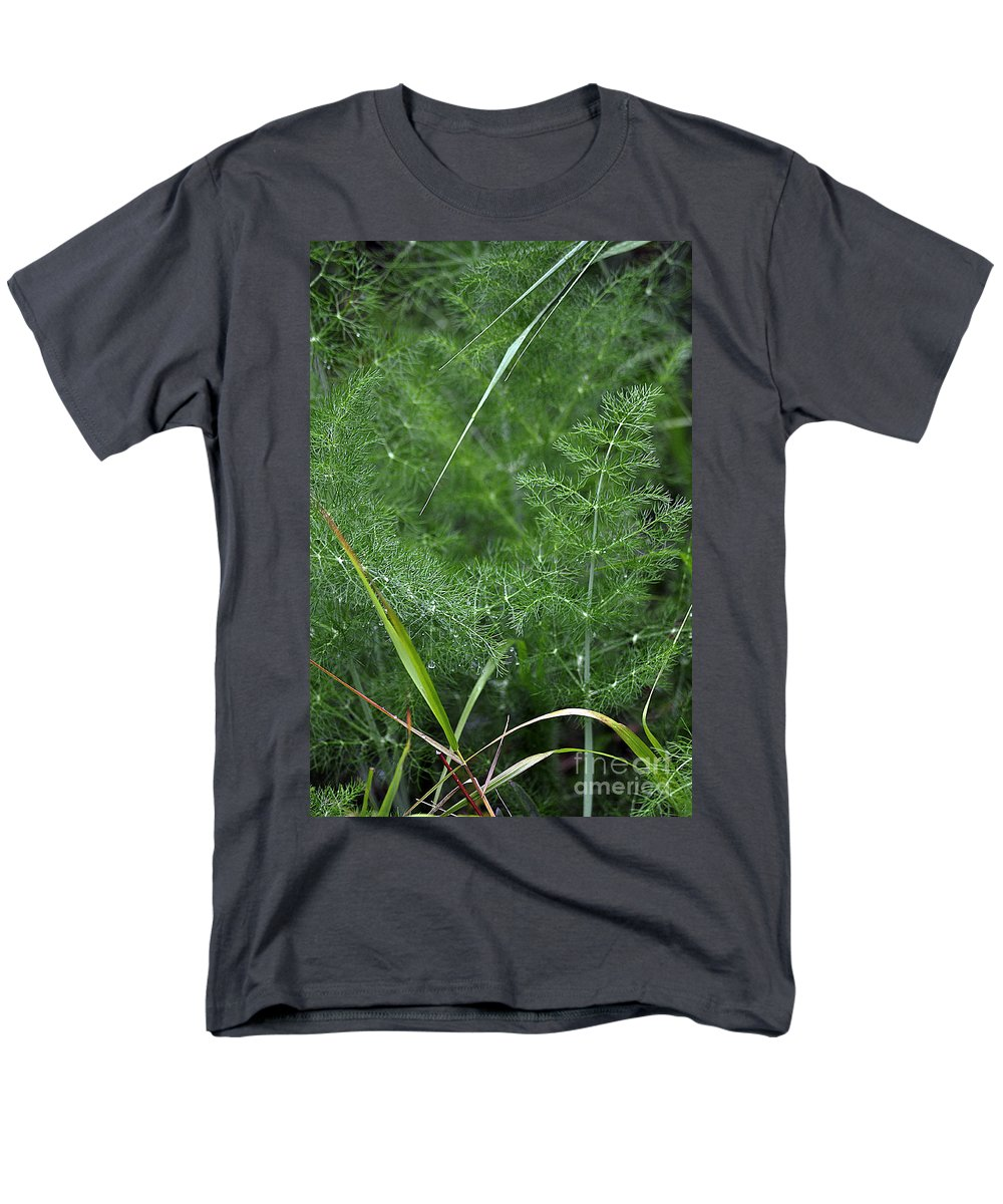 Clay Men's T-Shirt (Regular Fit) featuring the photograph Dew On The Ferns by Clayton Bruster