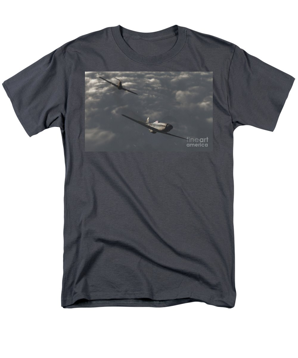 Ww2 Men's T-Shirt (Regular Fit) featuring the digital art Dog Fight by Richard Rizzo