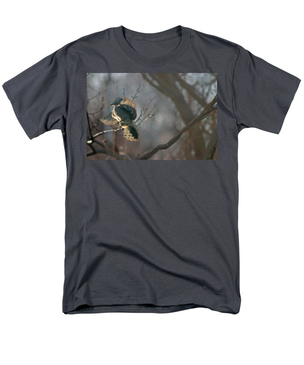 Nature Men's T-Shirt (Regular Fit) featuring the photograph Downey Woodpecker by Steve Karol