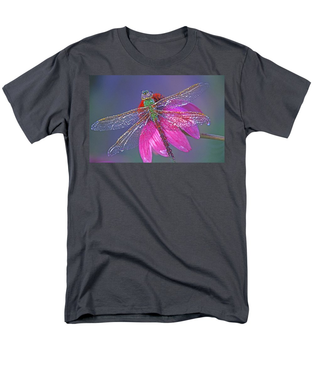 Dew Covered Dragonfly Rests On Purple Cone Flower Men's T-Shirt (Regular Fit) featuring the photograph Dreaming Dragon by Bill Morgenstern