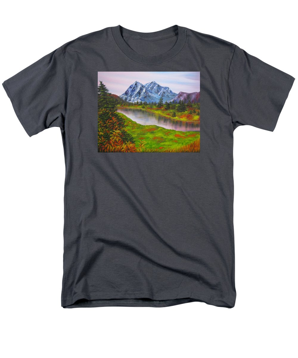 Autumn Men's T-Shirt (Regular Fit) featuring the painting Fall in Mountains Landscape oil painting by Natalja Picugina
