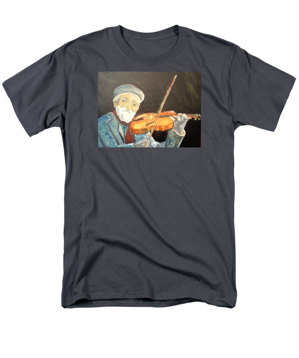 Hungry He Plays For His Supper Men's T-Shirt (Regular Fit) featuring the painting Fiddler Blue by J Bauer