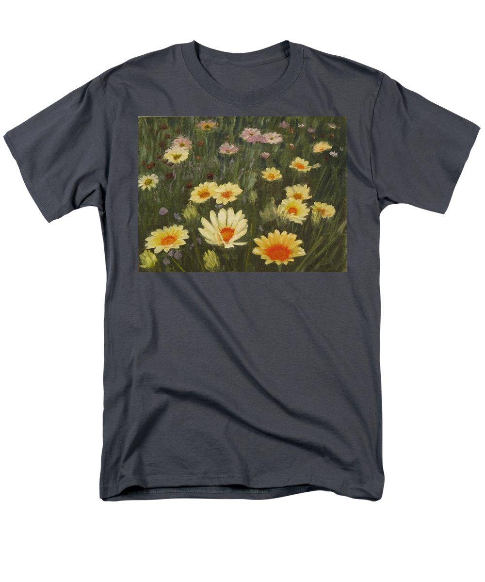 Flower Men's T-Shirt (Regular Fit) featuring the painting Field of Flowers by Lea Novak