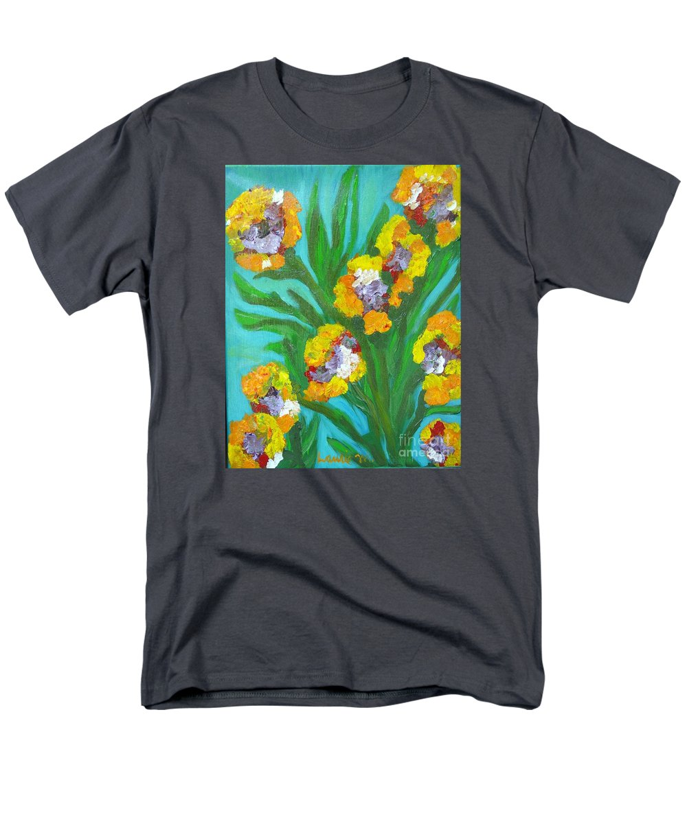 Flower Men's T-Shirt (Regular Fit) featuring the painting Fire Blossoms by Laurie Morgan