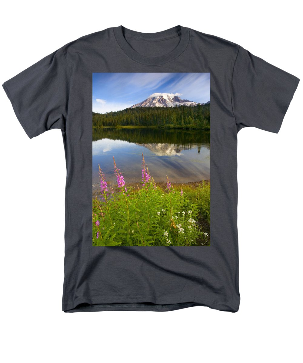 Fireweed Men's T-Shirt (Regular Fit) featuring the photograph Fireweed Reflections by Mike Dawson