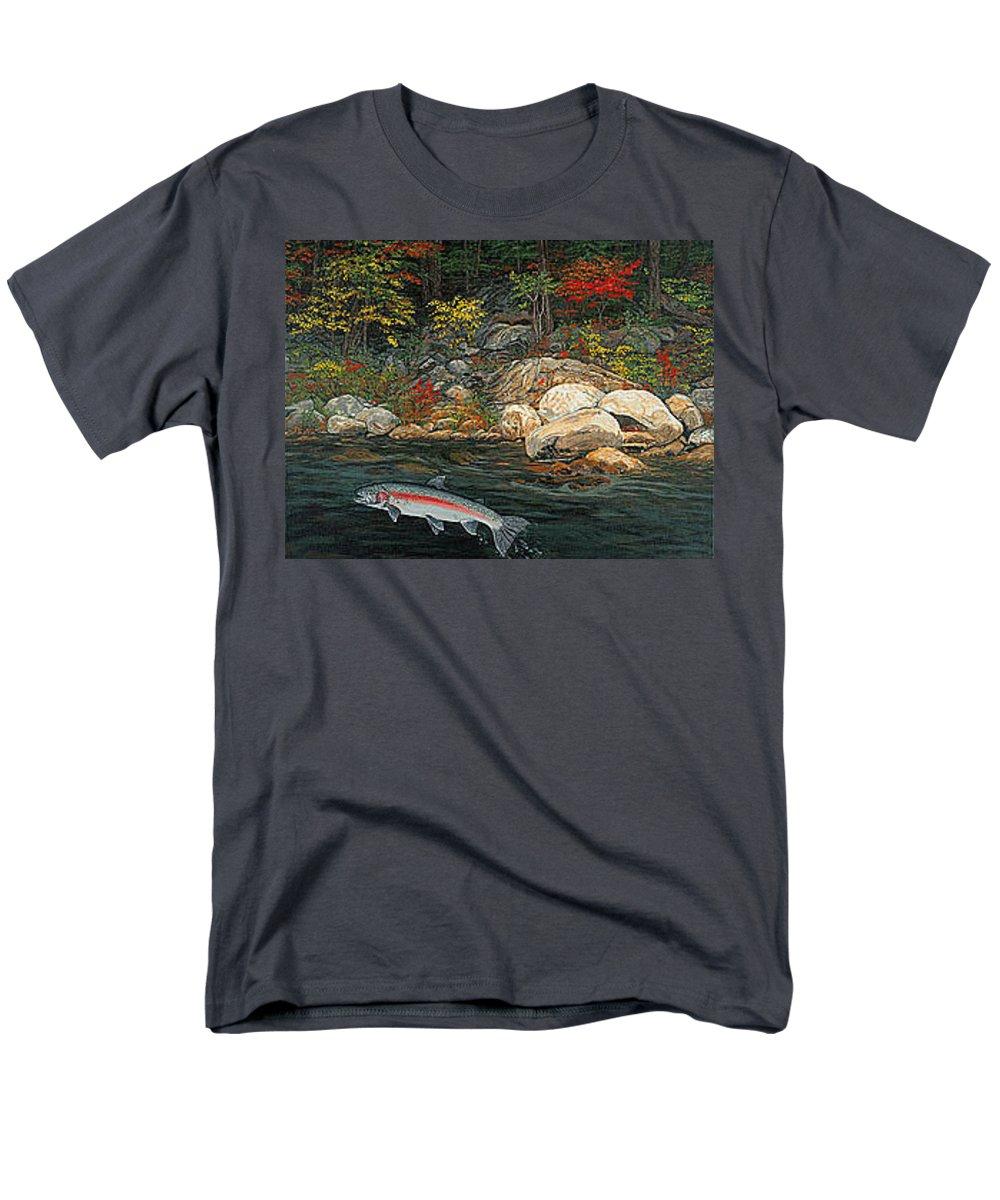 Art Men's T-Shirt (Regular Fit) featuring the painting Fish Art Jumping Silver Steelhead Trout Art Nature Artwork Giclee Wildlife Underwater Wall Art Work by Patti Baslee