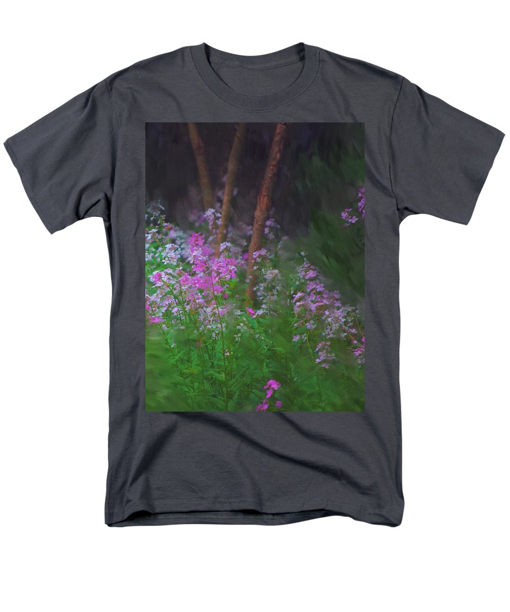 Landscape Men's T-Shirt (Regular Fit) featuring the painting Flowers in the woods by David Lane