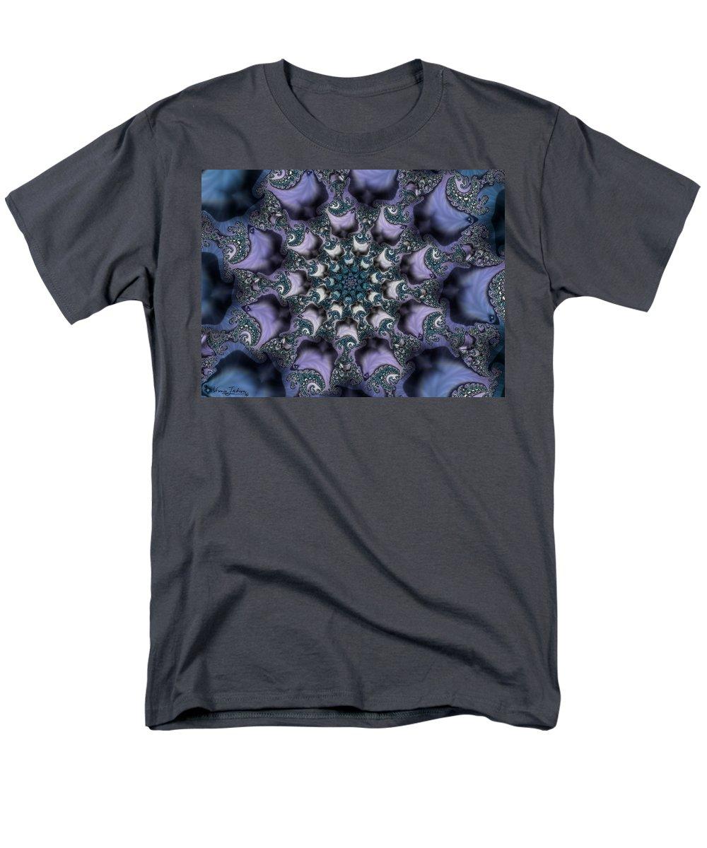 Fractal Rose Blossom Nature Life Organic Men's T-Shirt (Regular Fit) featuring the digital art Fractal 1 by Veronica Jackson