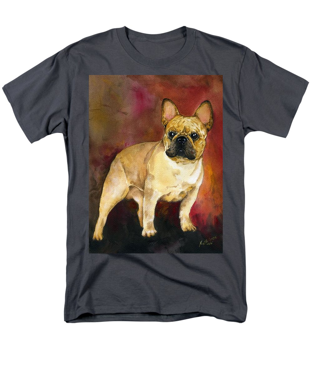 French Bulldog Men's T-Shirt (Regular Fit) featuring the painting French Bulldog by Kathleen Sepulveda