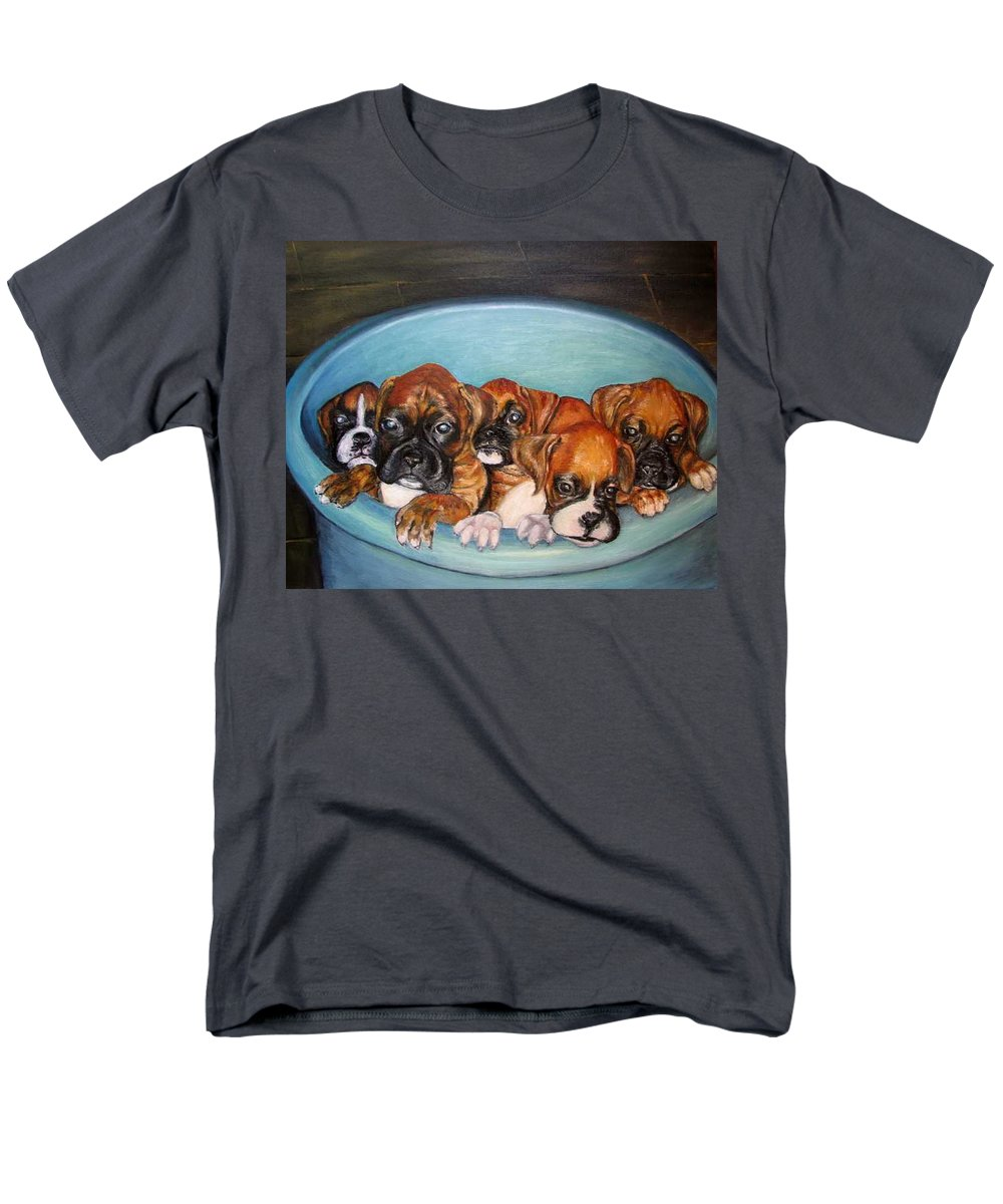 Oil Men's T-Shirt (Regular Fit) featuring the painting Funny Puppies orginal oil painting by Natalja Picugina