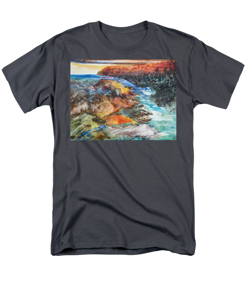 Abstract Men's T-Shirt (Regular Fit) featuring the painting Glacial Meltdown by Ruth Kamenev