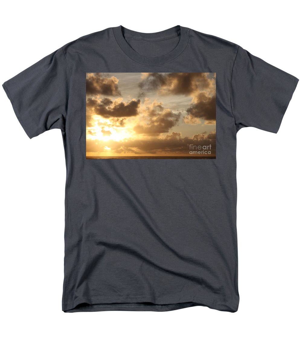Sunrise Men's T-Shirt (Regular Fit) featuring the photograph Golden Sunrise on Kauai by Nadine Rippelmeyer