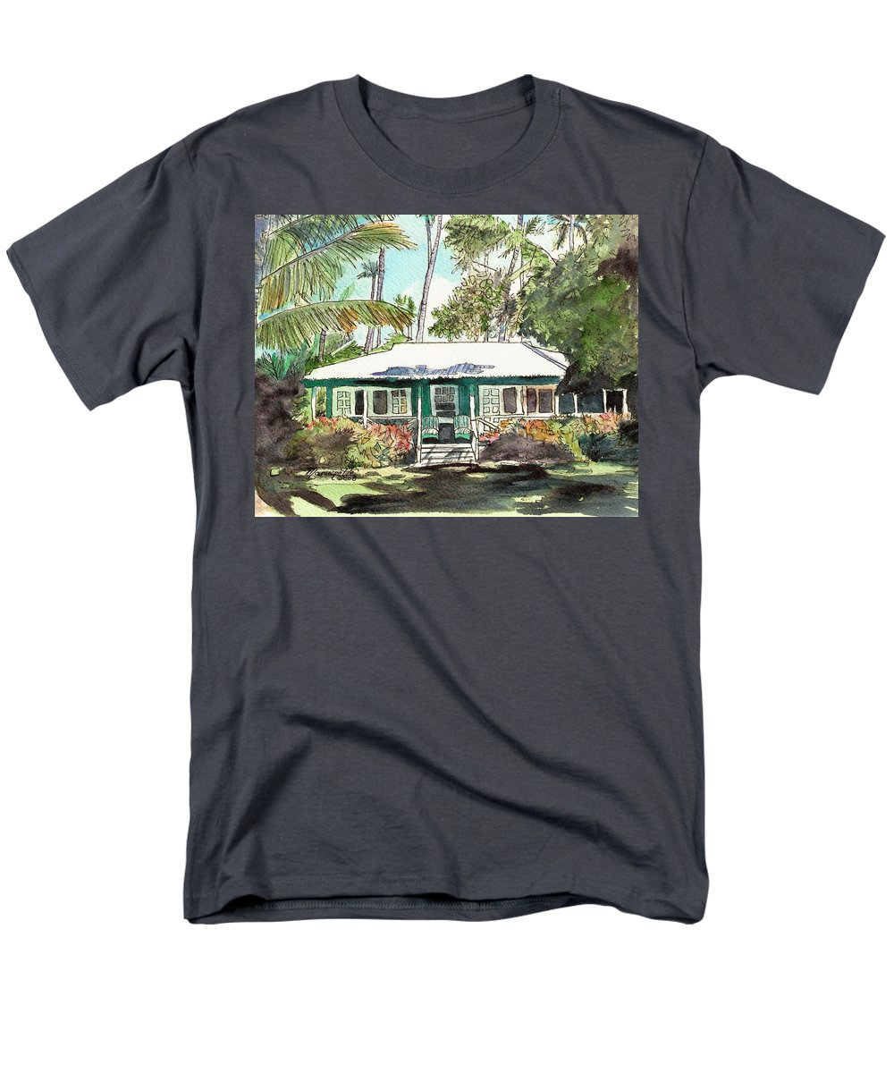 Cottage Men's T-Shirt (Regular Fit) featuring the painting Green Cottage by Marionette Taboniar