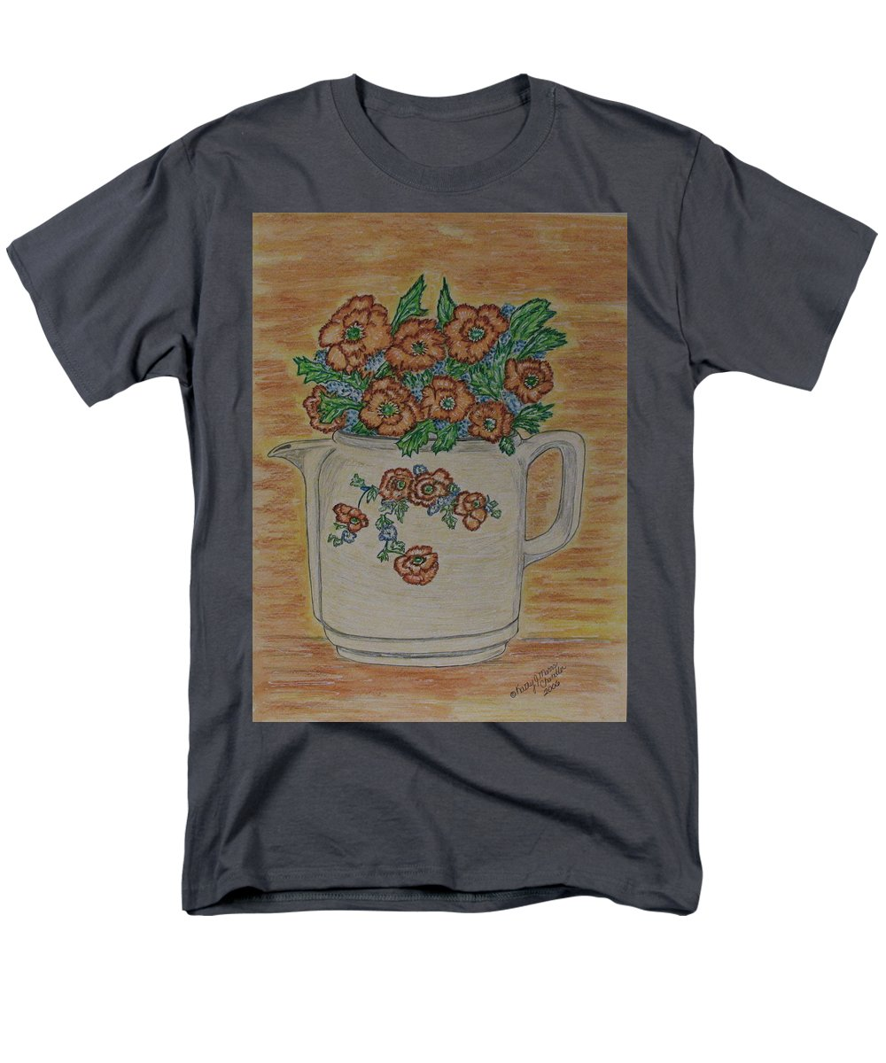 Hall China Men's T-Shirt (Regular Fit) featuring the painting Hall China Orange Poppy and Poppies by Kathy Marrs Chandler