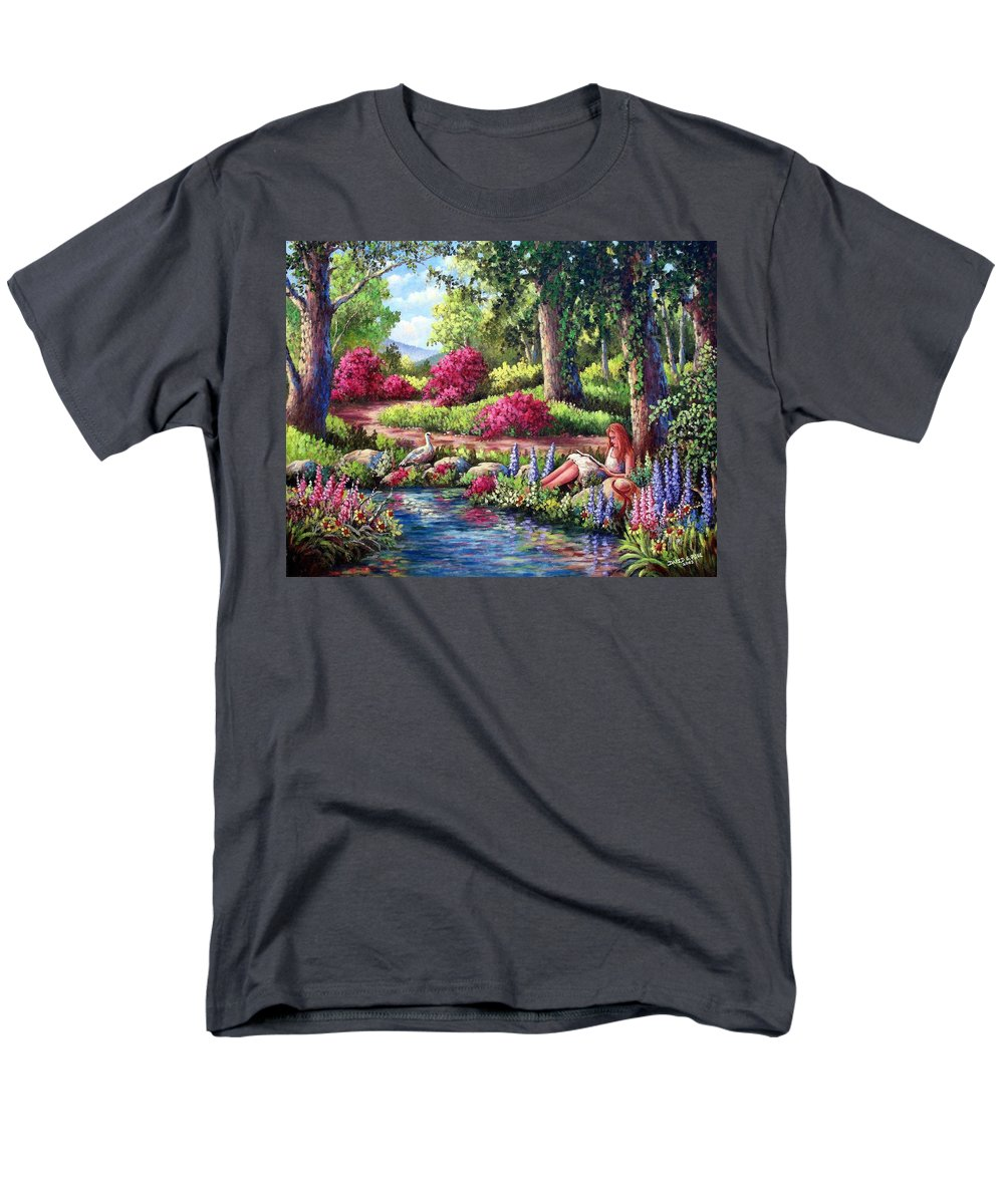 Read Men's T-Shirt (Regular Fit) featuring the painting Her Reading Hideaway by David G Paul