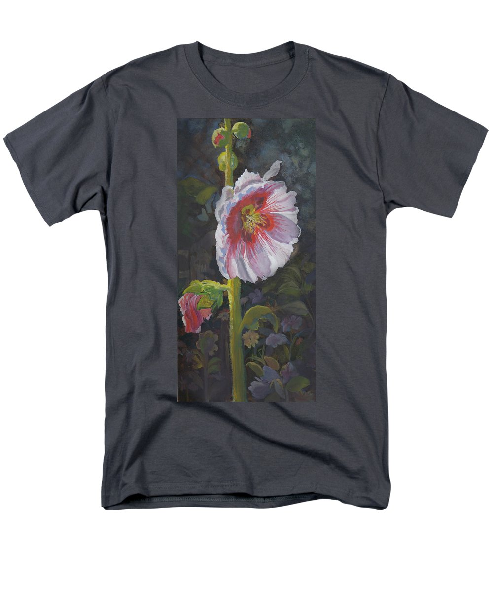 Flower Men's T-Shirt (Regular Fit) featuring the painting Hollyhock by Heather Coen