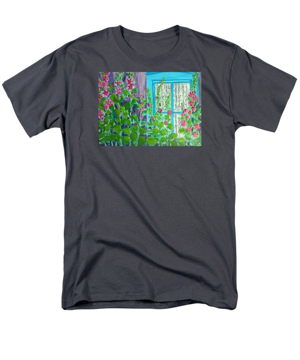 Hollyhocks Men's T-Shirt (Regular Fit) featuring the painting Hollyhock Surprise by Laurie Morgan