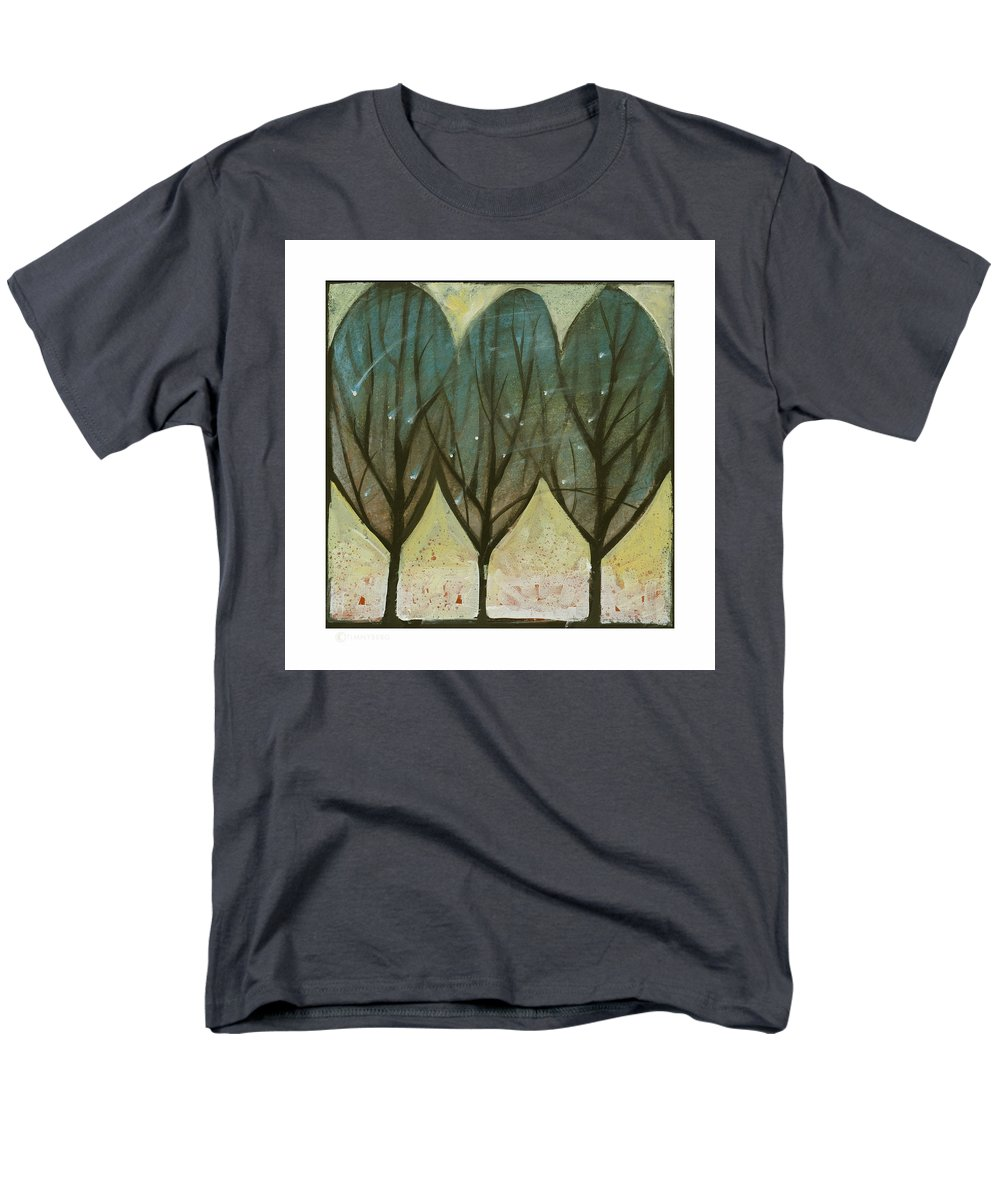 Trees Men's T-Shirt (Regular Fit) featuring the painting Indian Summer Snow by Tim Nyberg