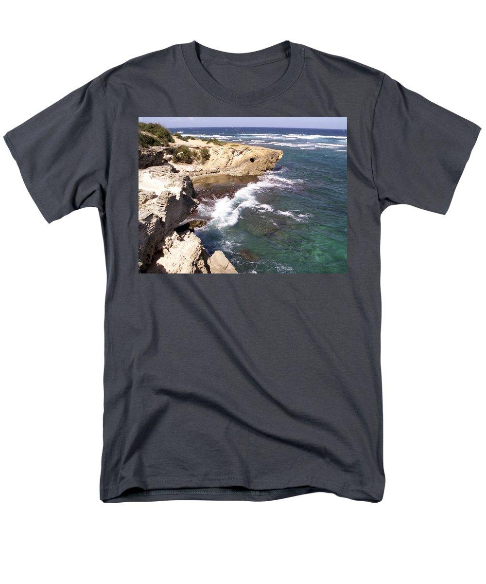 Kauai Men's T-Shirt (Regular Fit) featuring the photograph Kauai Coast with Shark outcrop by Amy Fose