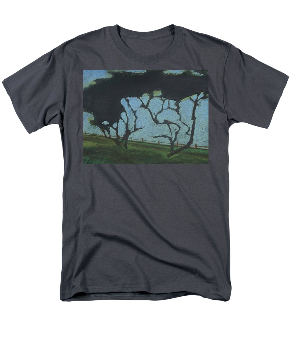 Contemporary Tree Landscape Men's T-Shirt (Regular Fit) featuring the mixed media La Jolla III by Leah Tomaino
