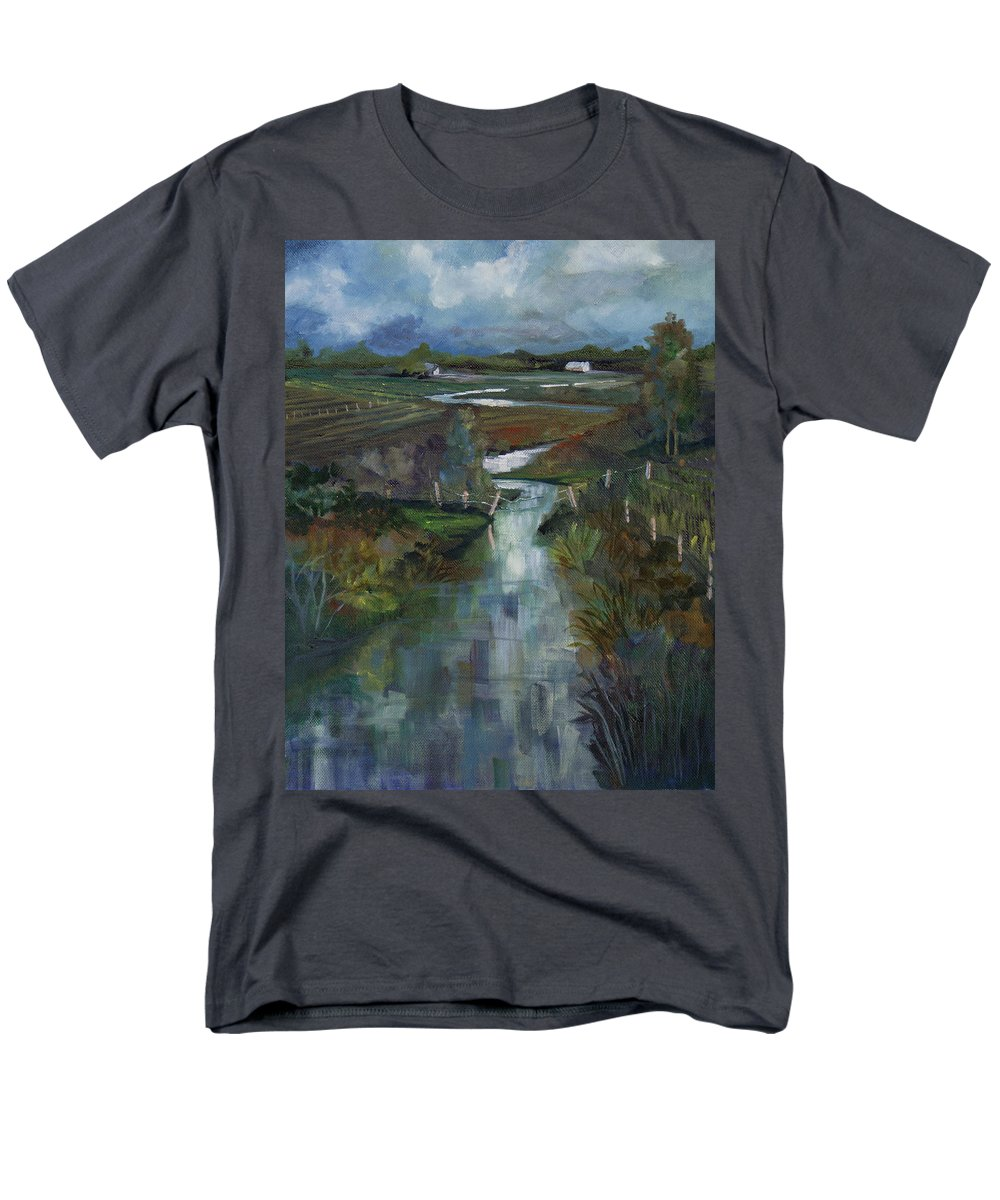 River Men's T-Shirt (Regular Fit) featuring the painting Laramie River Valley by Heather Coen